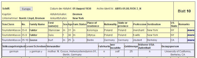 Bremen passenger list entry for Kurt Goose