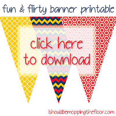 Free Fun and Flirty Printable Banner. Print as many as you like to create the length you desire. Fun colors in trendy graphic patterns. #freeprintables, #printablebanner, #trendypatterns