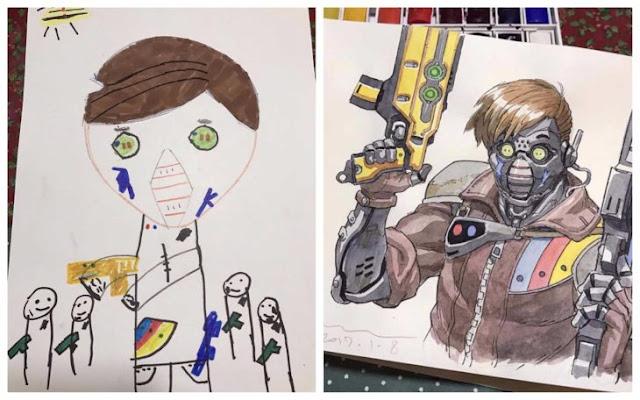 Papá convierte los dibujos de sus hijos en geniales cómics