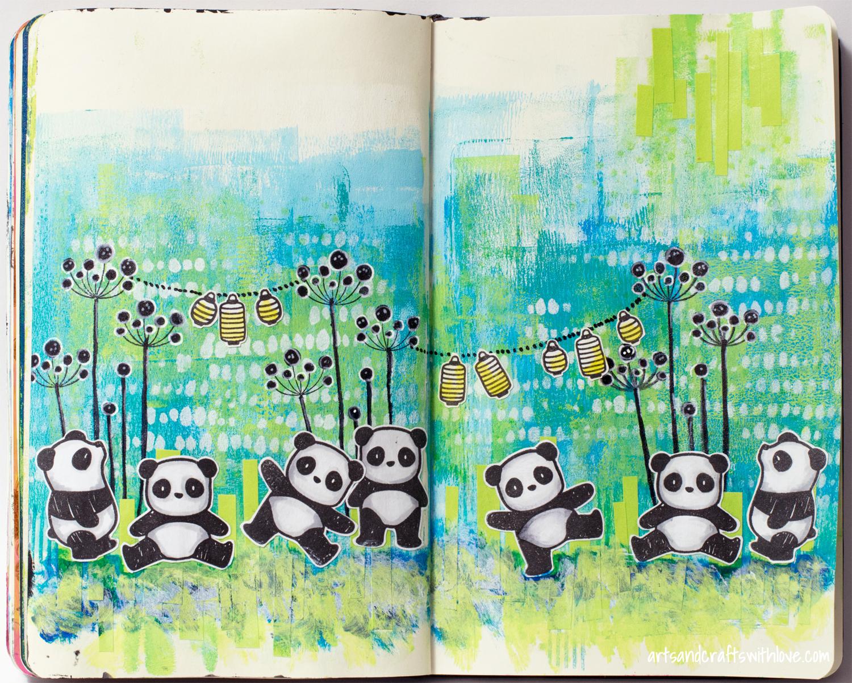 Elina\'s Arts And Crafts: Panda bears on art journal page