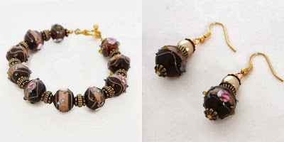 An amber & gold bracelet with matching earrings - Handmade by Lottie Of London