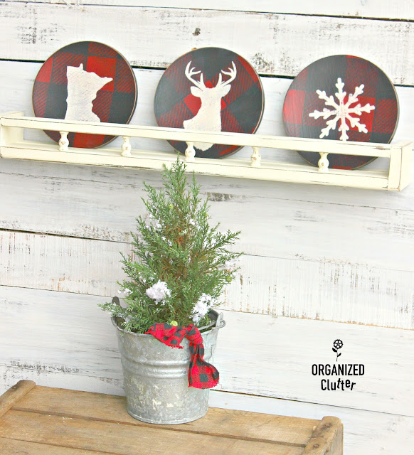 Thrifted Wooden Salad Plates to Christmas Decor www.organizedclutter.net