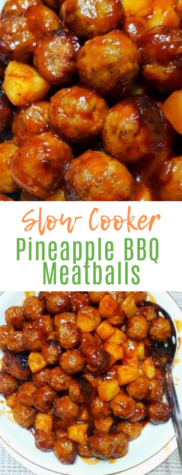 Slow Cooker Pineapple BBQ Meatballs #pineapple #meatballs