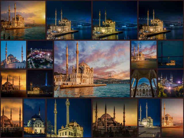 تحميل 19 صورة للمسجد الأزرق في اسطنبول خلال وقت الغروب بجودة عالية