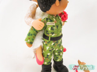 Topo de Bolo, Noivinhos, Noivos, Biscuit, Casamento, Militar