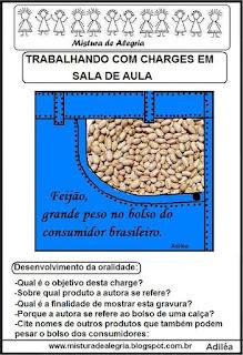 Charge sobre o preço alto do feijão