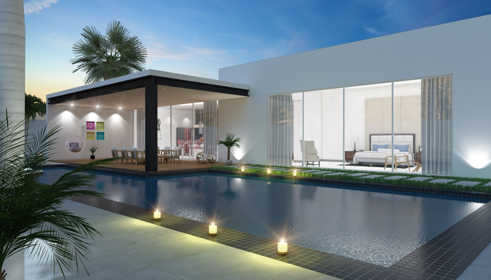 Casa con alberca hybrido studio for Casa minimalista con alberca
