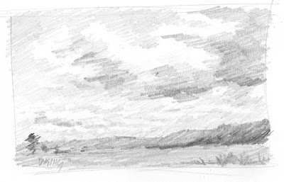 art sketch pencil graphite landscape clouds sky