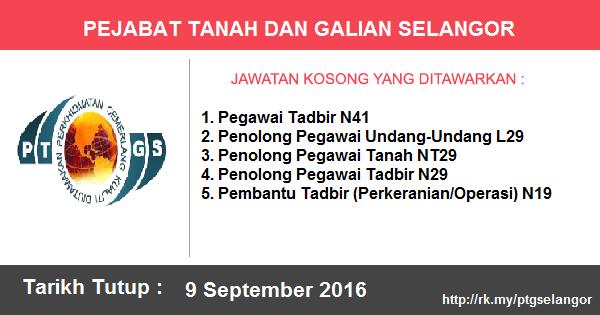Jawatan Kosong di Pejabat Tanah dan Galian Selangor