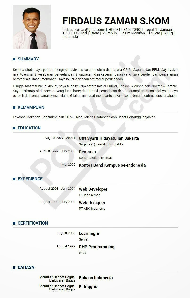 Contoh Daftar Riwayat Hidup Untuk Lamaran Kerja Dosen Cv Nabila