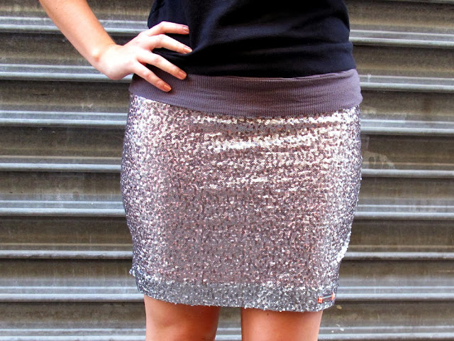 Superdry glitter ball silver sequin miniskirt