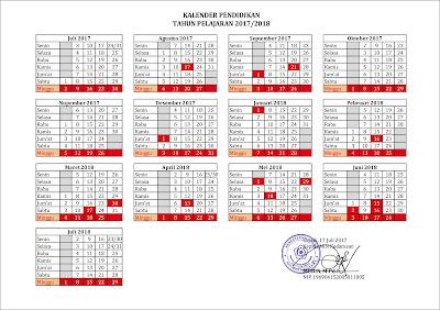 Kalender Pendidikan MIN Kedamaen Tahun Pelajaran 2017/2018