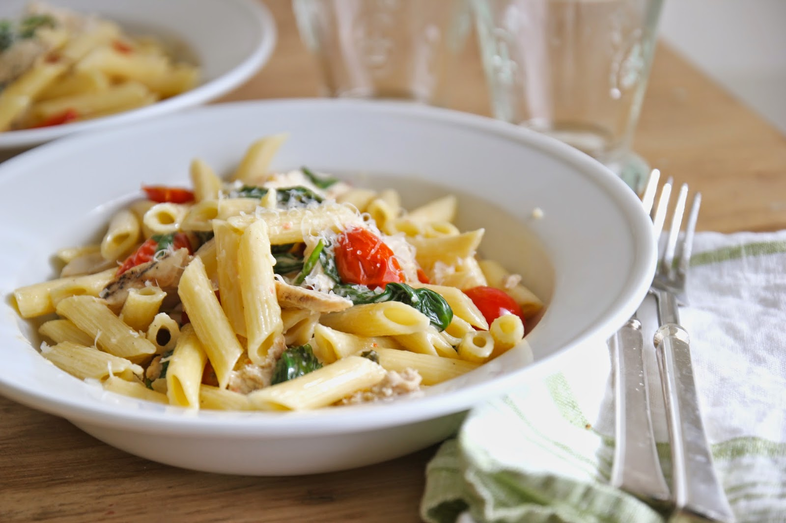 Steffens Hobick: Penne with Grilled Chicken, Spinach & Cherry Tomatoes ...
