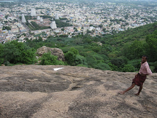 View of Arunachaleswara Temple from mount Arunachala