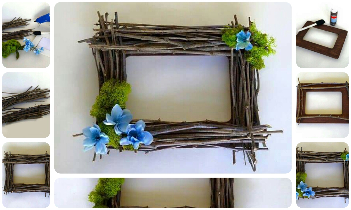 Make A Beautiful Photo Frame Using Wooden Sticks Crazzy Craft