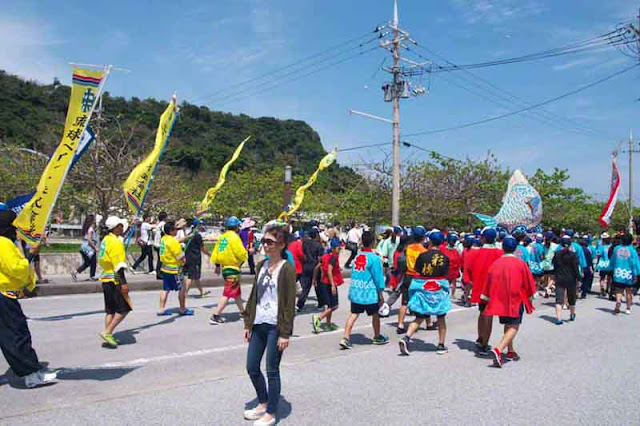 parade, banners, flags, Sanguacha, Okinawa