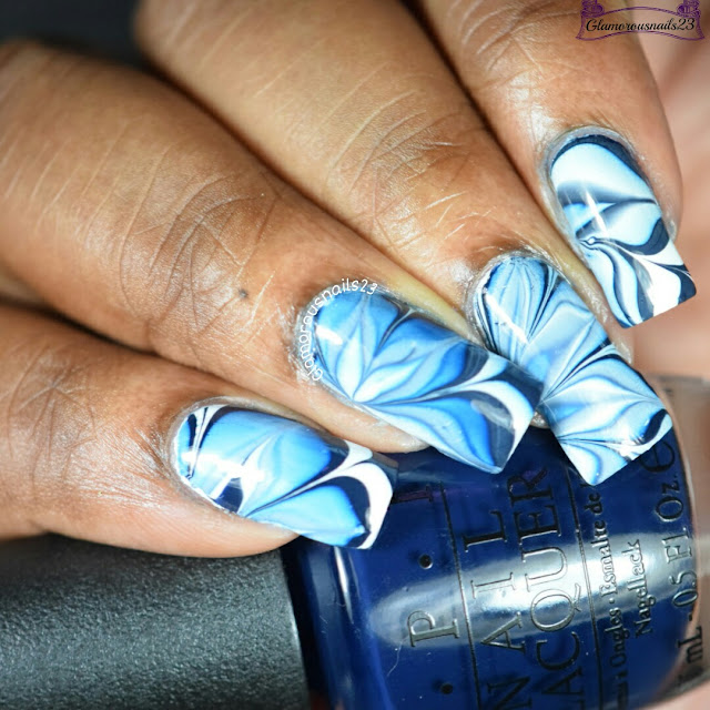 Watermarble Wednesdays: Navy Blue & White