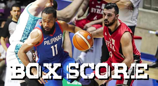 Box Score List: Gilas Pilipinas vs Syria 2018 ASIAD