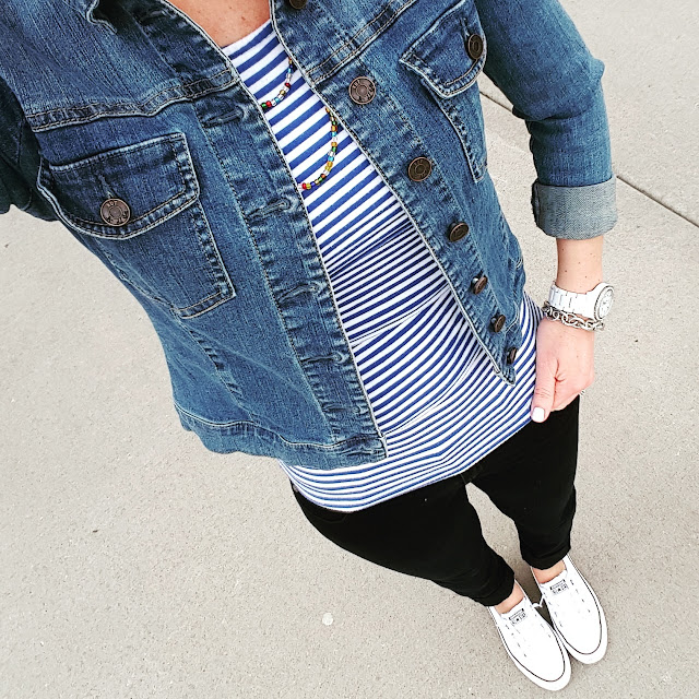 Kut From the Kloth Denim Jacket // Banana Republic Factory Striped Top (similar - 83% off!!!) // 7 For All Mankind Jeans - 50% off! // Converse Tennis Shoes // Fossil Watch (similar for $15) // Saks Off Fifth Link Bracelet - only $10, regular $25!