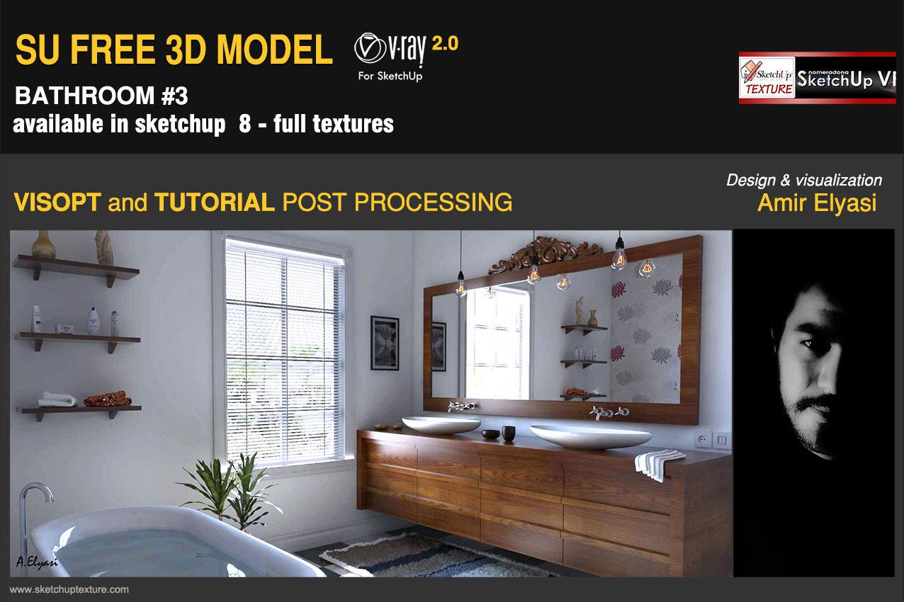 SKETCHUP TEXTURE: Free 3d model elegant bathroom #3 vray ...