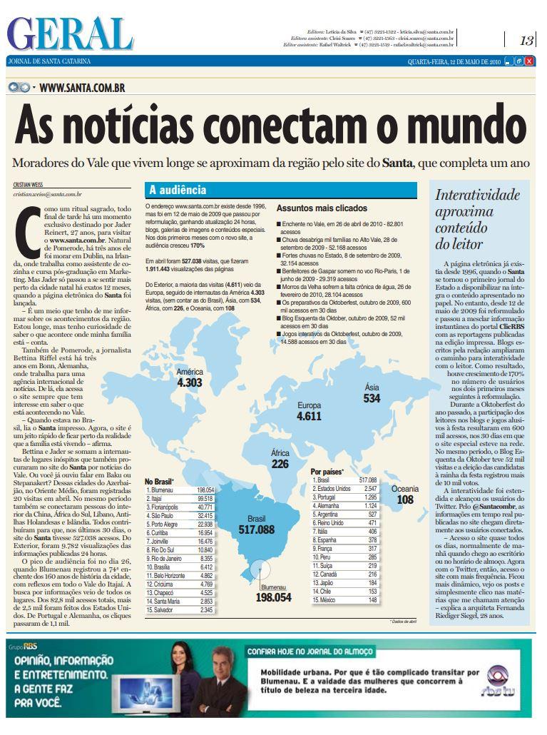 Site do Jornal de Santa Catarina da RBS e da NSC Comunicação completa um ano e moradores do Vale se conectam por Cristian Edel Weiss, Cristian Weiss