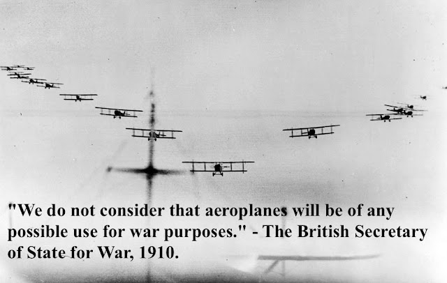Photo of several biplanes flying in formation. 1914-1918. 'We do not consider that aeroplanes will be of any possible use for war purposes.' The British Secretary of State for War, 1910. Dogfights and other stories of pilots. marchmatron.com
