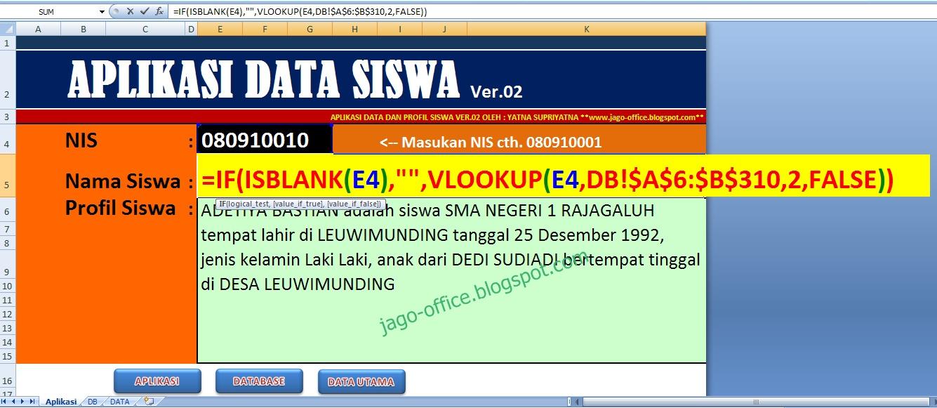 300 Rumus Excel Aplikasi Data Profil Siswa Pake Excel