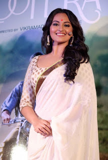 Bollywood Actress Sonakshi Sinha Pictures In Transparent White Saree (5)