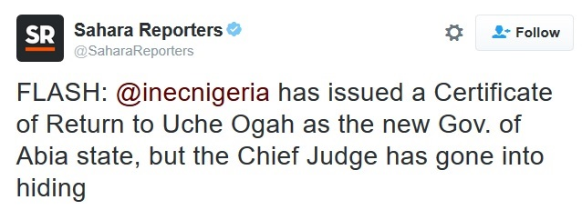 BREAKING News: INEC Issues a Certificate of Return to Uche Ogah, the New Abia State Governor