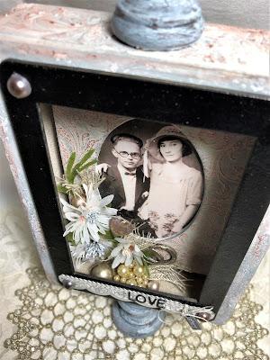 Sara Emily Barker https://sarascloset1.blogspot.com/2019/04/trashy-love-story-vignette-for-frilly.html Vignette Box Tutorial Tim Holtz 3D Embossing Seth Apter Baked Velvet 13