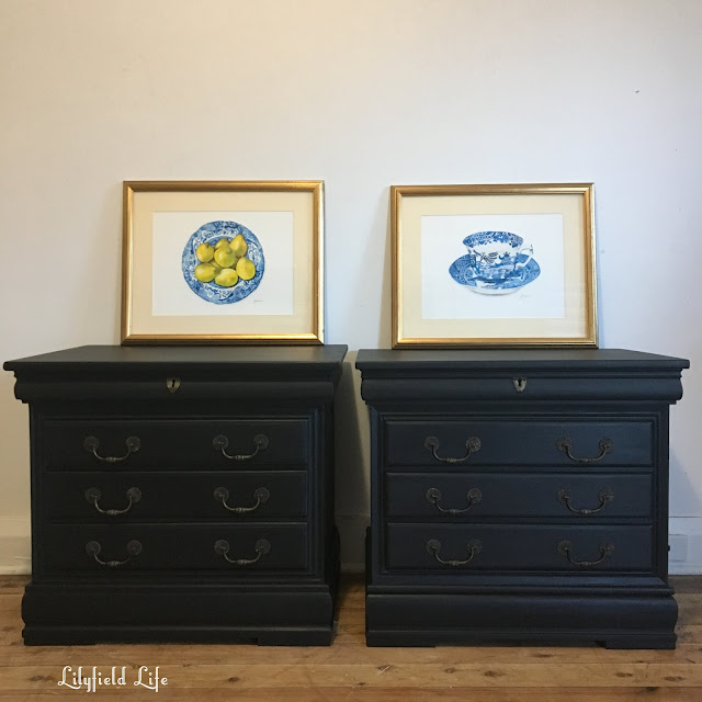 hand painted black bedside tables by Lilyfield Life