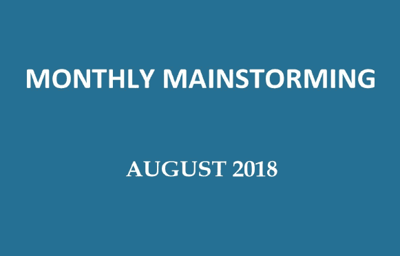 UPSC Monthly Mainstorming - August 2018 for UPSC Mains 2018