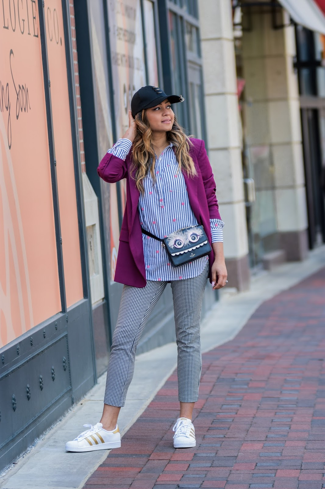 gingham pants, fanny pack outfit, waist bag outfit, adidas oiginals gold sneaker, gap gingham pants, street style, bethesda row, Dc blogger, print mixing, cap outfit, myriad musings