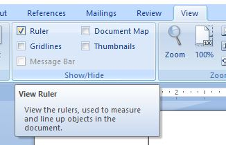 enabling ruler in word document