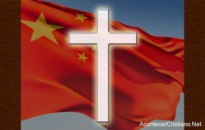 Bandera de china con una cruz