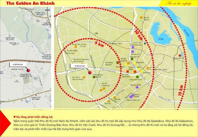 Liên kết của chung cư Golden An Khánh với các khu vực
