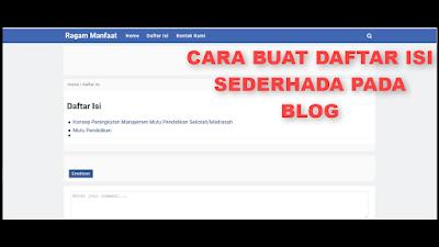 Cara Buat Daftar Isi Otomatis Pada Blog