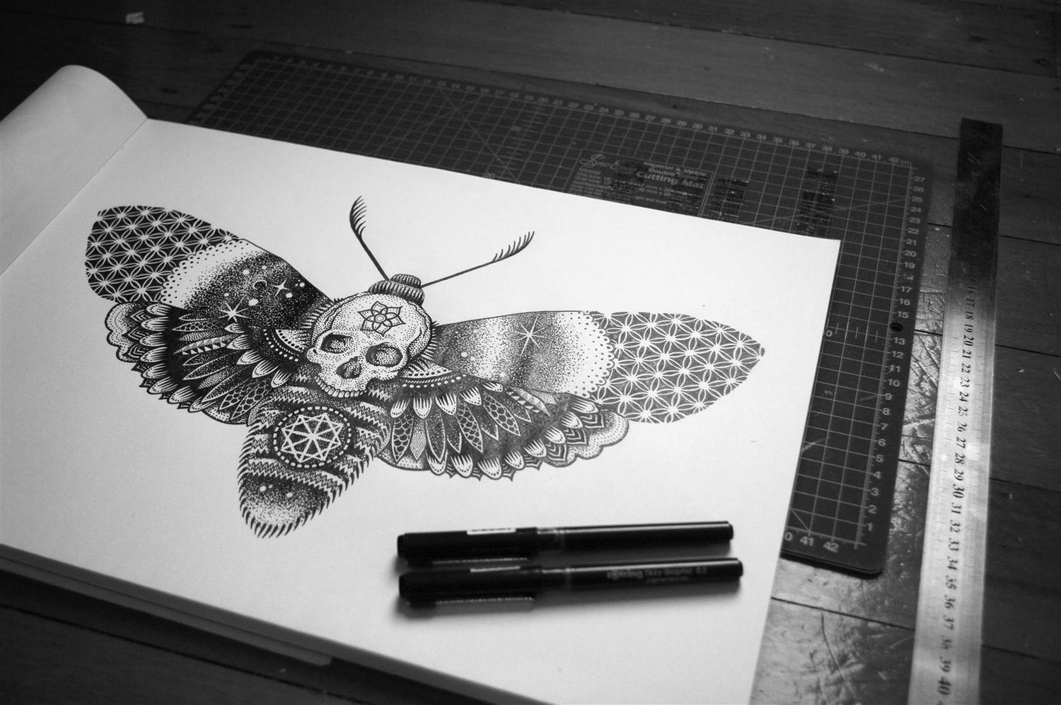 13-Moth-Tony-Graystone-Neon-Mystic-Black-and-White-Drawings-www-designstack-co