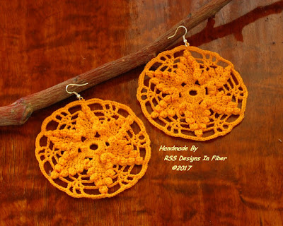 Yellow Crochet Rounds Dangle Earrings - Handmade By Ruth Sandra Sperling of RSS Designs In Fiber