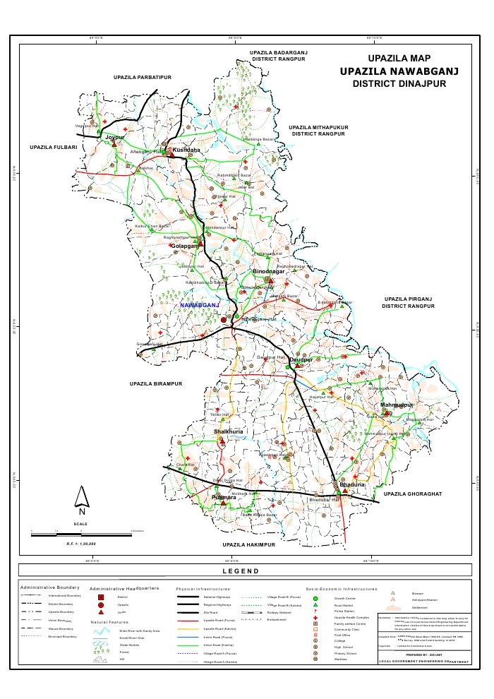 Nawabganj Upazila Map Dinajpur District Bangladesh