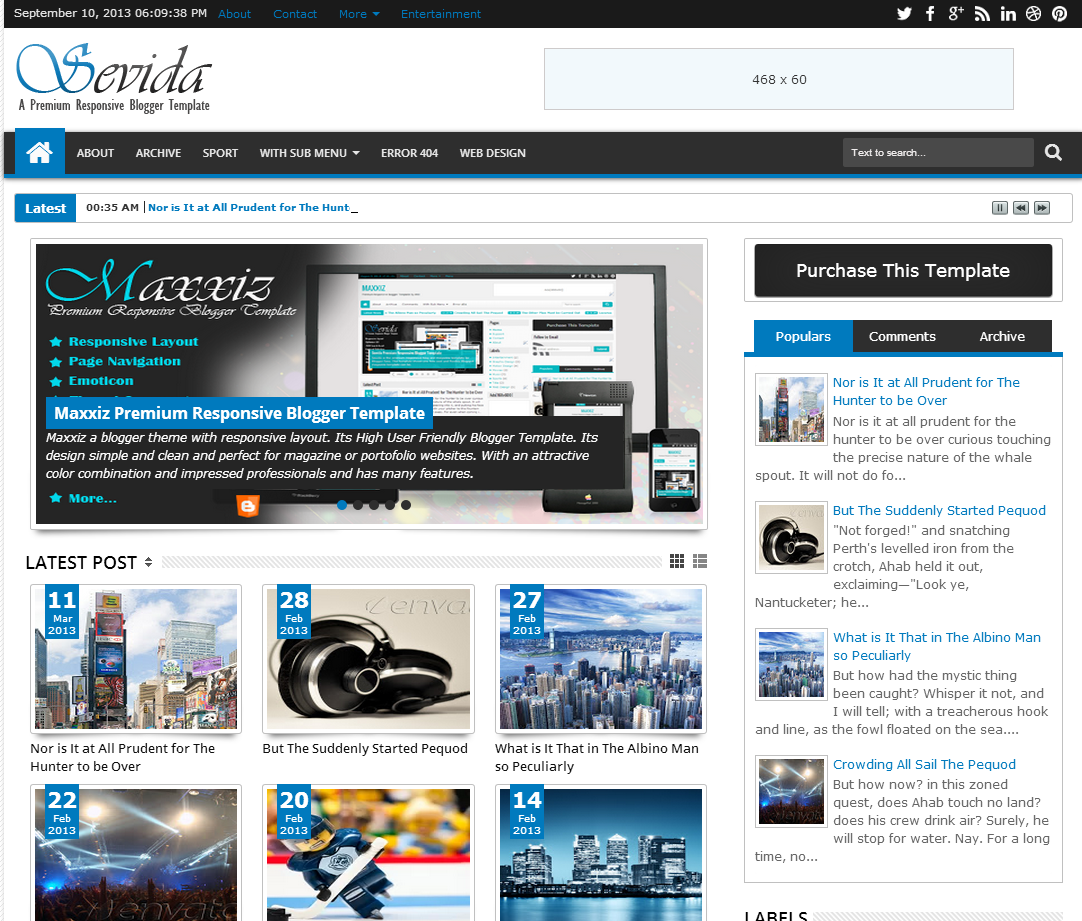 Sevida blogger template full version with latest for Free blogger templates with slider