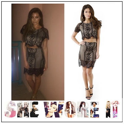 Black, Bodycon, Co-ords, Crop Top, Eyelash Lace, Floral Pattern, Forever Modo, High Waisted, Jessica Wright, Lace, Mini Skirt, Overlay, Sheer, Short Sleeve, Skirt, The Only Way Is Essex, TOWIE,