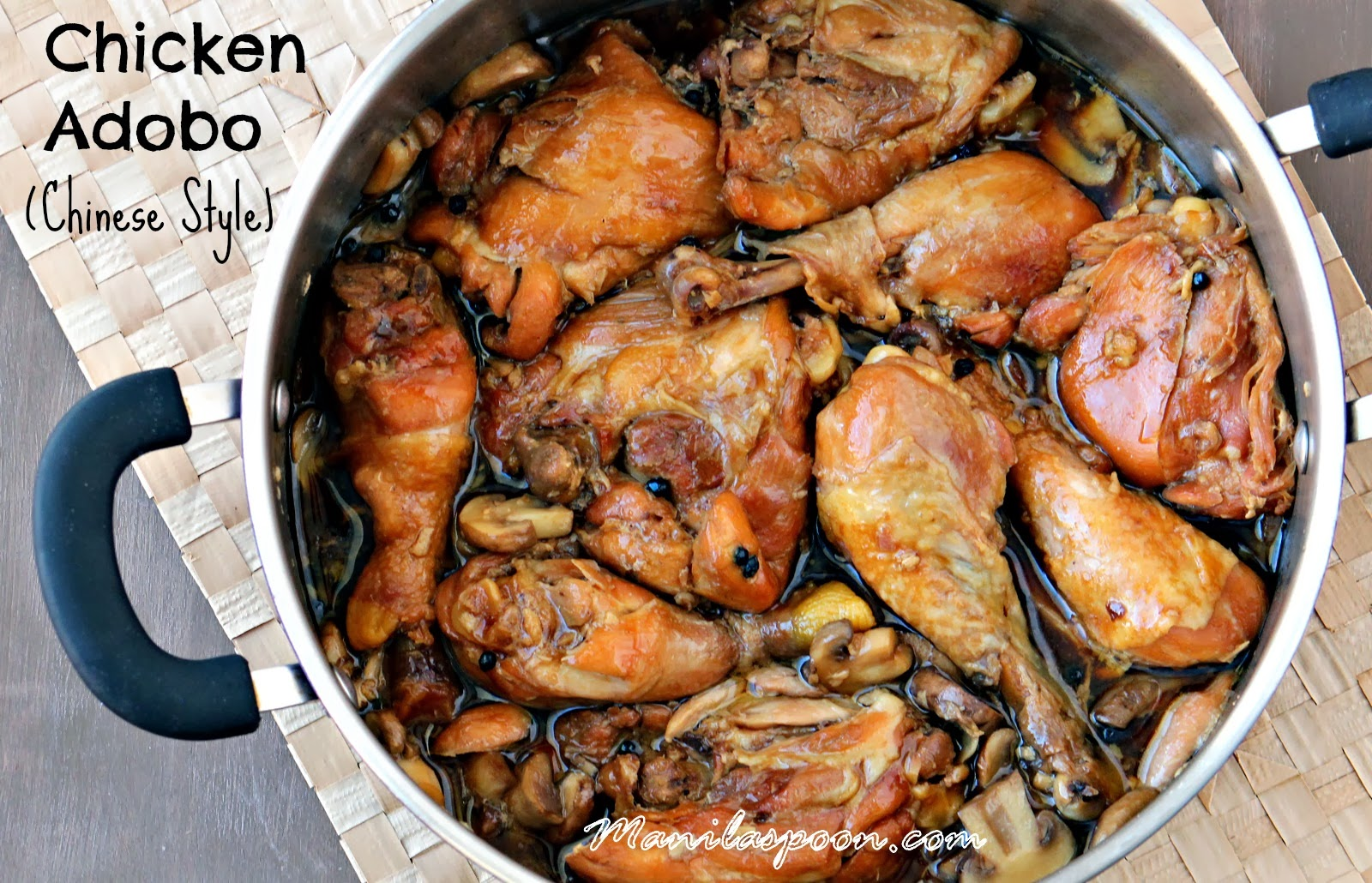 This sweet-salty, vinegar-free Chicken Adobo version is so yummy! You'll be mopping up all that sauce on your plate. #chicken #adobo