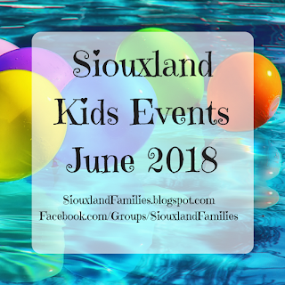"brightly colored balloons float on a pool while text in front reads ""Siouxland Kids Events June 2018"""
