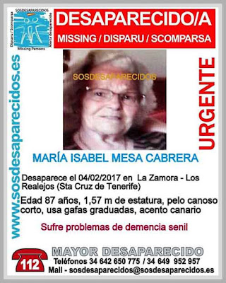 María Isabel Mesa Cabrera, una mujer de 87 años y con demencia senil desaparecida en La Zamora, Los Realejos, Tenerife