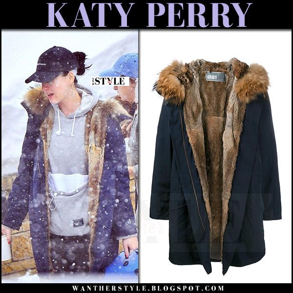 Katy Perry in navy fur lined parka army yves salomon what she wore