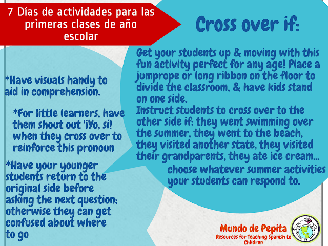 Activities for the First Days of School in Elementary Spanish Classes