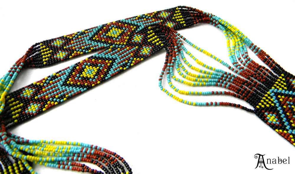 купить гердан  из бисера  этническое колье ручной работы