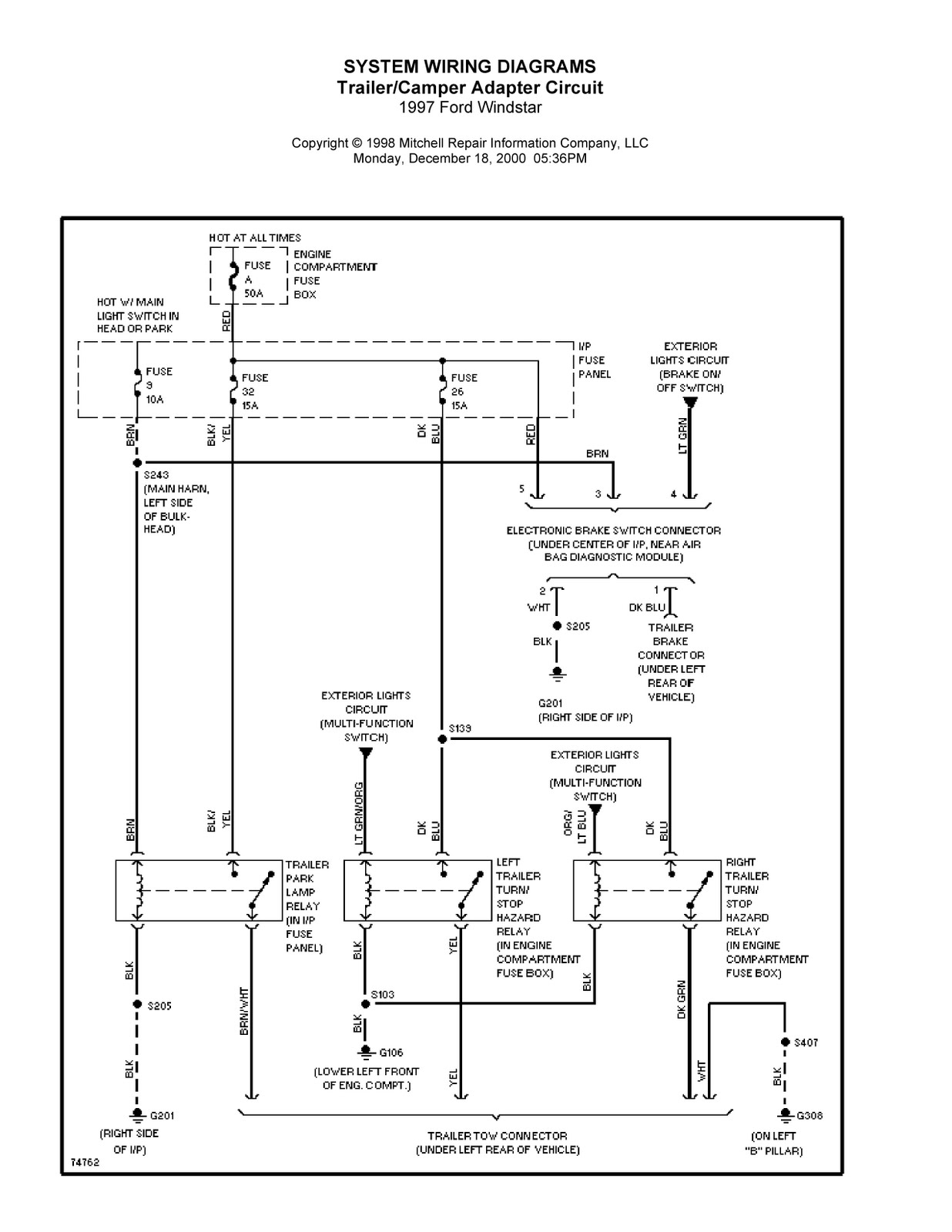 1997 Ford Windstar Complete System Wiring Diagrams ...