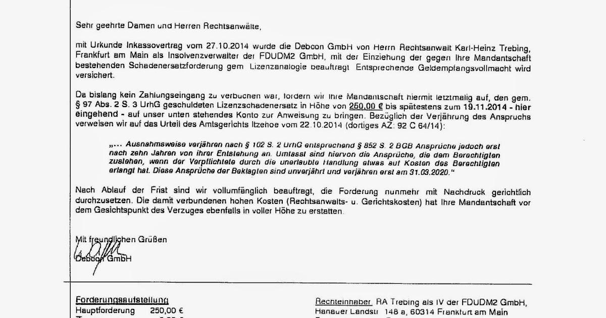 Tönsbergrecht Schon Wieder Spam Faxe Der Debcon Gmbh Diesmal Für